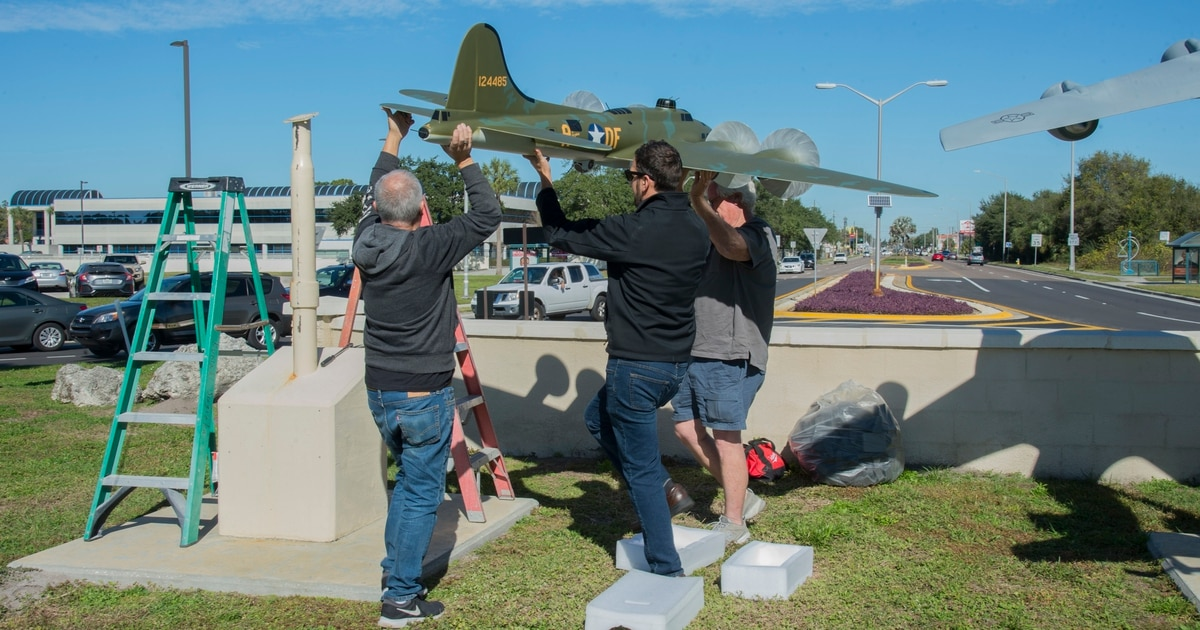 MacDill features Memphis Belle model outside main gate