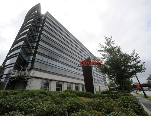 This Saturday, July 21, 2012, photo shows the corporate headquarters of Equifax Inc. in Atlanta. (AP Photo/Mike Stewart)
