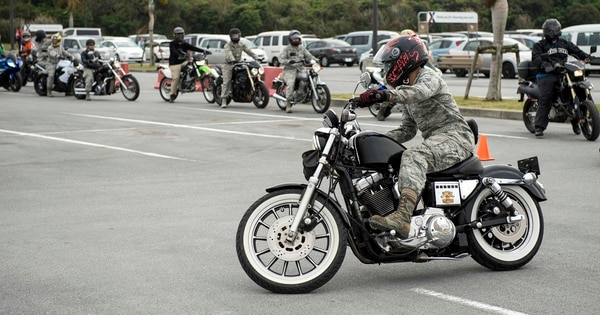 Some overseas duty stations may be problematic for motorcycle riders, with local restrictions adding to the red tape of moving and/or riding your bike. Here, riders refresh their skills on a handling course during a motorcycle safety brief March 9, 2017, at Kadena Air Base, Japan. (Staff Sgt. Peter Reft/Air Force)