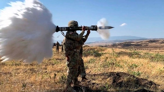 Sgt. Brendan Seiber fires an AT4 anti-tank weapon at a range located in the Vaziani Training Area near Tbilisi, Georgia, during Exercise Agile Spirit, July 30, 2019. (Sgt. Brendan Seiber/Army)