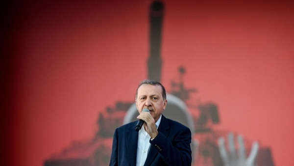 Turkish President Recep Tayyip Erdogan speaks at an Aug. 7, 2016, rally in Istanbul following a failed military coup. (Ozan Kose/AFP via Getty Images)