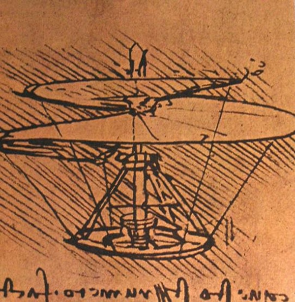 Leonardo da Vinci was the first to dream up the concept of a rotational, vertical lift aircraft and sketched out his Helical Air Screw idea in 1493 — about 450 years before the first true helicopter actually took flight. (leonardodavinci.net)