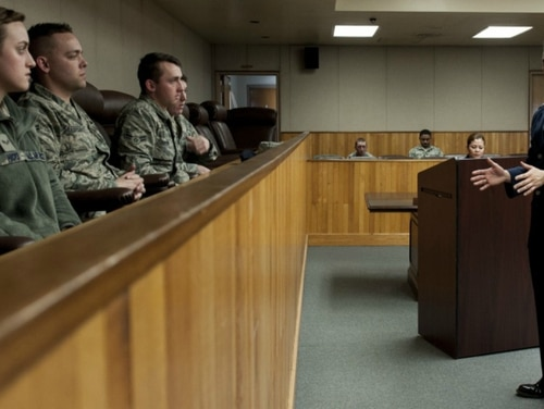 Capt. Brian Adams, 8th Fighter Wing deputy staff judge advocate, speaks to airmen during a sexual assault mock trial on Feb. 24, 2015, at Kunsan Air Base in the Republic of Korea. (Senior Airman Katrina Heikkinen/Air Force)