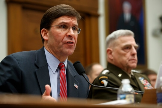 Secretary of Defense Mark Esper, left, and Chairman of the Joint Chiefs Gen. Mark Milley, testify before a House committee hearing on Dec. 11, 2019. The pair are scheduled to appear on Capitol Hill again this Wednesday. (Jacquelyn Martin/AP)