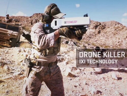 The IXI Dronekiller is advertised as able to disable Unmanned Air Vehicles of all types, enabling the operator to thwart the use of drones by criminals and enemy combatants for surveillance and direct attacks to drop bombs, grenades, and improvised explosive devices (IEDs) on fighting forces. (IXI Technology)