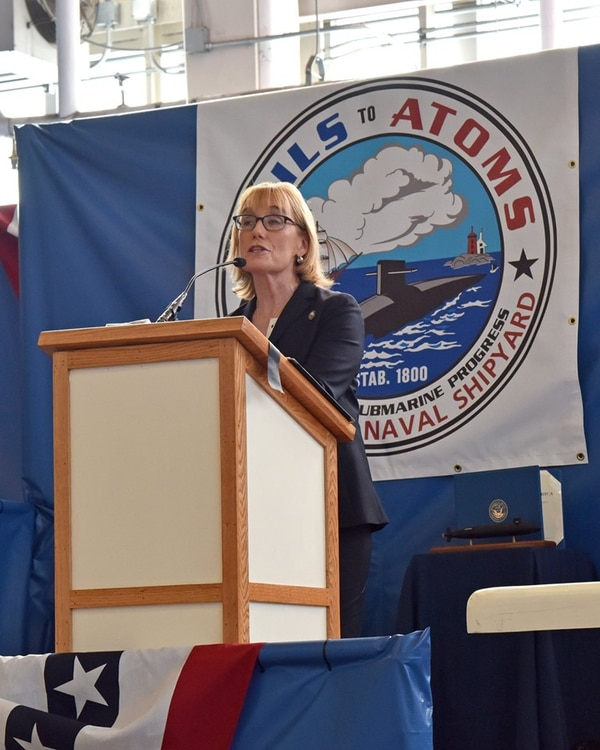 Sen. Maggie Hassan makes congratulatory remarks at the ceremony as Capt. David S. Hunt passes command of Portsmouth Naval Shipyard to Capt. Daniel W. Ettlich. (Jim Cleveland/Navy)