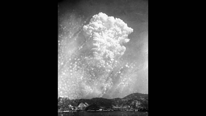 In this Aug. 6, 1945, file photo, smoke rises 20,000 feet above Hiroshima, Japan, after the first atomic bomb was dropped during warfare.