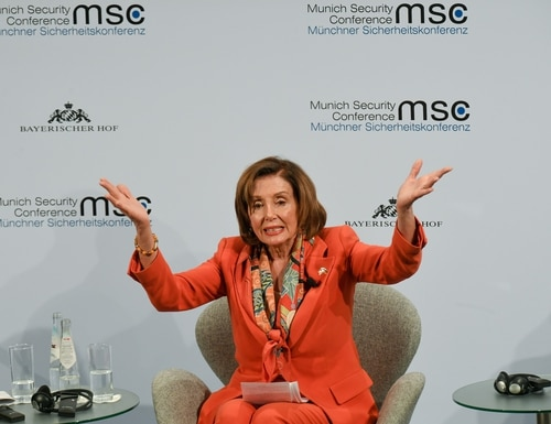 House Speaker Nancy Pelosi gestures on the podium of the Munich Security Conference in Munich, southern Germany, on Feb. 14, 2020. (Christof Stache/AFP via Getty Images)