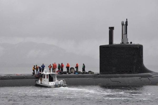 The Virginia-class fast-attack submarine Texas off the coast of Ketchikan, Alaska. (U.S. Navy photo by Kelley Stirling)