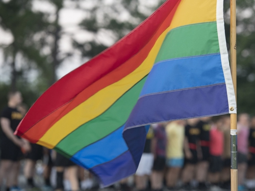 The rainbow flag represents the diversity and social movement of the lesbian, gay, bisexual, transgender and queer community. (Airman 1st Class Monica Roybal/Air Force)