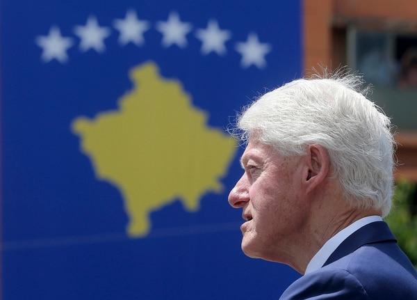Former U.S. President Bill Clinton speaks during anniversary celebrations in the capital Pristina, Kosovo, Wednesday, June 12, 2019. (Visar Kryeziu/AP)
