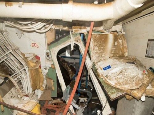 The inside of the destroyer Fitzgerald after it collided with a merchant vessel on June 17, 2017, killing seven sailors. (U.S. Navy photo)