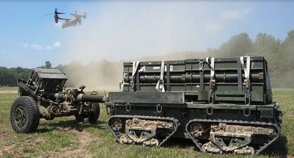 The eXpeditionary Robotic Platform, or XR-P, tows ammunition during a testing evolution.
