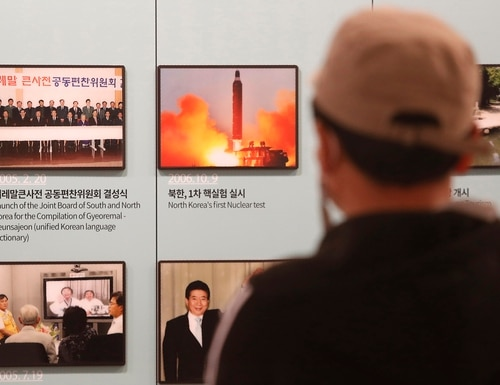 A photo showing North Korea's missile launch is displayed at the Unification Observation Post in Paju, near the border with North Korea, South Korea, March 24, 2021. (Ahn Young-joon/AP)