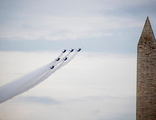 In this July 4, 2019, file photo, the Washington Monument is visible as the U.S. Navy Blue Angels flyover at the conclusion of President Donald Trump's Independence Day celebration in front of the Lincoln Memorial in Washington. (AP Photo/Andrew Harnik, File)