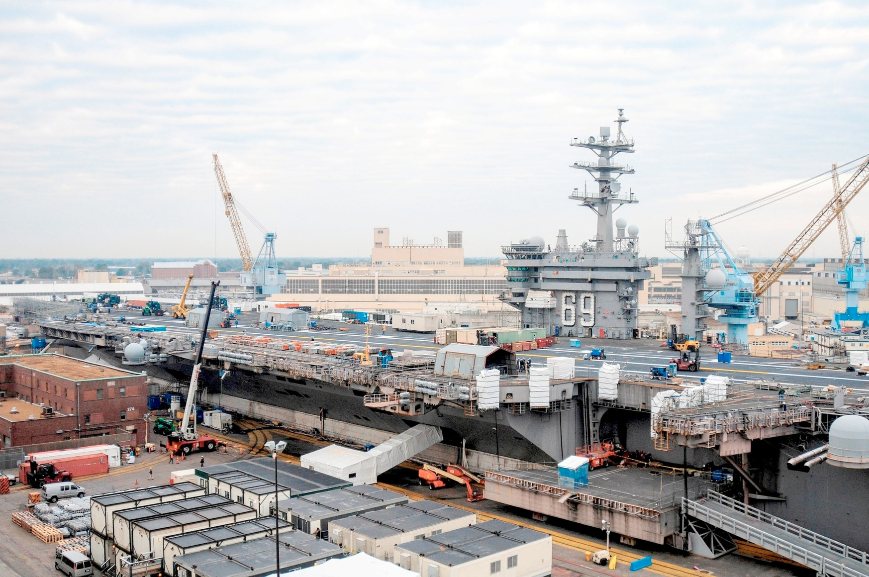 The aircraft carrier USS Dwight D. Eisenhower sits in dry dock in 2013 after a double-pump deployment to the Middle East. (MCSN Wesley Breedlove/U.S. Navy)