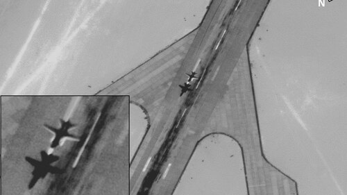 The U.S. military in June published imagery that officials said show Russian aircraft being used to support private military companies sponsored by the Russian government to fight in the Libyan war. (U.S. Defense Department)