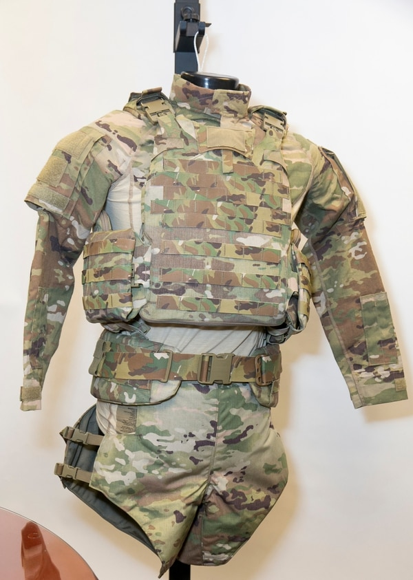 The new Soldier Protection System includes torso and extremity protection. (Alan Lessig/Staff)