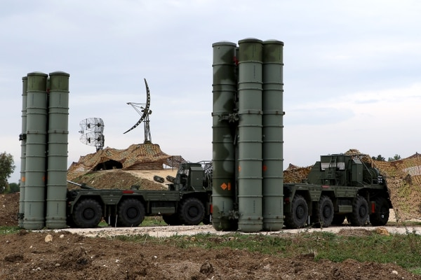 Two Russian S-400 Triumf air and missile defense systems are deployed to the Russian Hmeimim military base in Latakia province, northwest Syria, on Dec. 16, 2015. (Paul Gypteau/AFP via Getty Images)