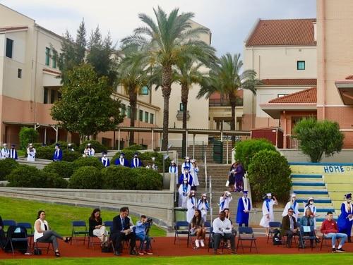 Social distancing graduation in Sigonella, Italy, in June 2020. (Department of Defense Education Activity)