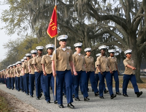 Marines with India Company, 3rd Recruit Training Battalion, graduated from recruit training at Marine Corps Recruit Depot Parris Island, S.C., March 29, 2019. (Cpl. Vivien Alstad/Marine Corps)