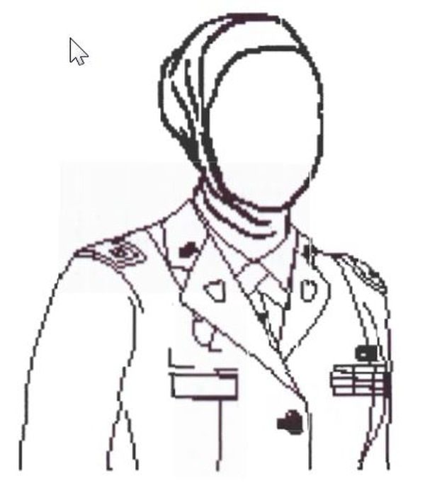 This illustration shows proper wear of a hijab in uniform.