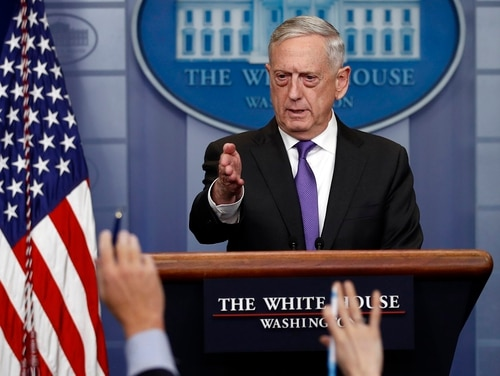 Defense Secretary Jim Mattis told reporters Thursday the approximately 800 DACA service members and veterans who have been honorably discharged will be protected from deportation. (Carolyn Kaster/AP)