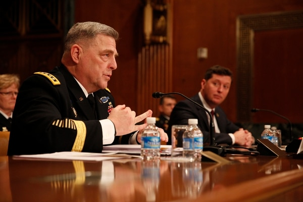 Acting Secretary of the Army Patrick Murphy and Army Chief of Staff Gen. Mark Milley testify about the FY17 Army budget request before the Senate Appropriations Defense Subcommittee in Washington, D.C., on Wednesday, February 24, 2016. (Mike Morones/Staff)