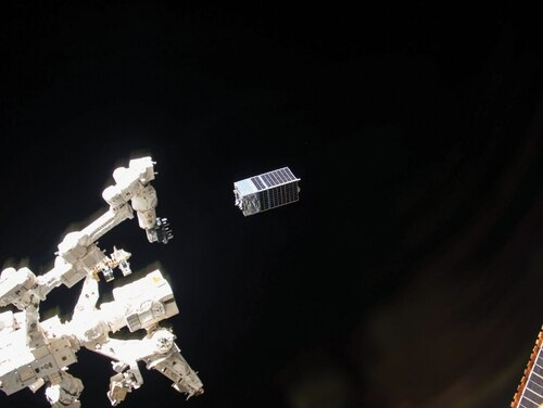 The Kestrel Eye is a small, low-cost, visible-imagery satellite prototype designed to provide near-real-time images to the tactical-level ground Soldier. Kestrel Eye was launched to the International Space Station (ISS) as a payload aboard the SpaceX Falcon 9 from Kennedy Space Center in Florida on Aug. 14, 2017 (Photo courtesy of SMDTC).