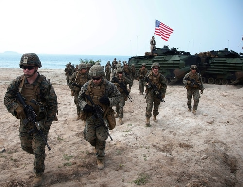 U.S. Marines join in an ongoing joint military exercise with Thai and South Korean troops in eastern Thailand on Feb. 17, 2018. (Sakchai Lalit/AP)