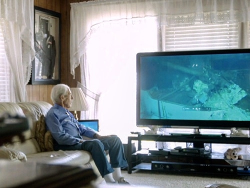 A World War II survivor watches footage of the discovered wreck of his warship for the first time in the new documentary,