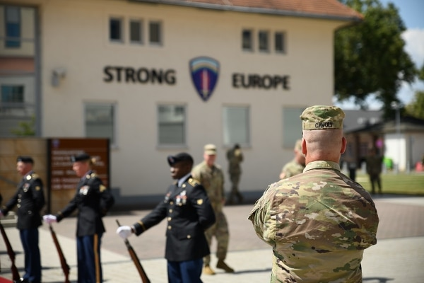 Lt. Gen. Christopher Cavoli, commander U.S. Army Europe, welcomes Brig. Gen. Josef Kopecky of the Czech Republic to the U.S. Army Europe Headquarters in Wiesbaden, Germany. (Tony Sweeney/U.S. Army)