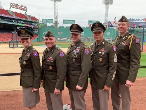 Maj. Gen. Frank Muth, second from left, head of Army Recruiting Command, visited Fenway Park in Boston on April 12 with a group of recruiters from the New England Recruiting Battalion, all sporting their new Army Greens service uniforms. (Army)