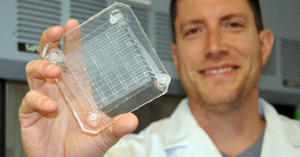 Joseph Potkay, a biomedical engineer with the VA Ann Arbor Health Care System, displays a 2D prototype of an artificial lung. A 3D version is in production. (Brian Hayes/Veterans Affairs)
