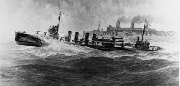 Fast Convoy, World War I (lithograph of an oil painting by Burnell Poole/ Naval History and Heritage Command)