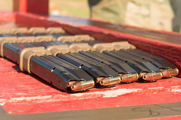 Magazines for the Modular Handgun System are seen during a test conducted for U.S. Army Operational Test Command at Fort Bragg, North Carolina. (Army).