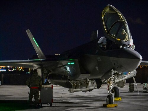 An F-35A Lightning II undergoes preflight preparations to take-off from Nellis Air Force Base, Nev., in January 2017, during Red Flag 17-1. (Airman 1st Class Nathan Byrnes/Air Force)