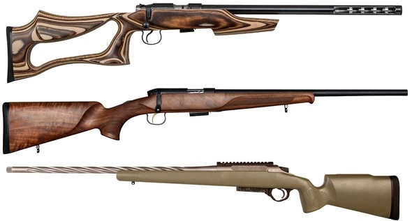 From top: The CZ-USA Integral Rimfire, Steyr Zephyr II and Seekins Precision Havak Professional Hunter (Manufacturer photos)
