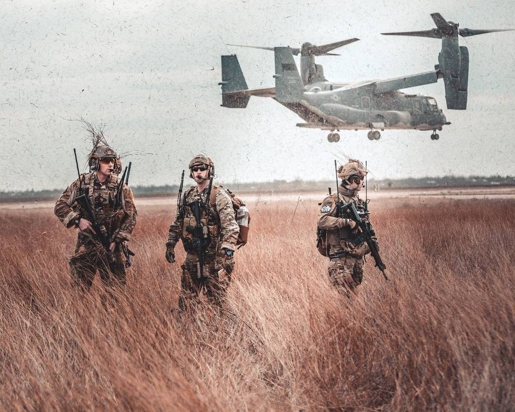 U.S. Air Force Special Tactics operators prepare to conduct a simulated medevac mission on March 2, 2020, near Constanta, Romania, using the 352 SOW's CV-22B Osprey.