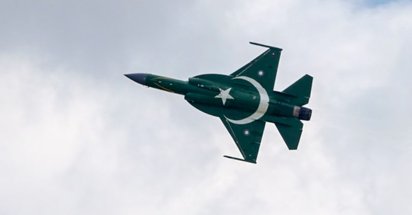 A Pakistani PAC Kamra JF-17 Thunder performs its flying display at the International Paris Air Show on June 17, 2019. (Eric Piermont/AFP via Getty Images)