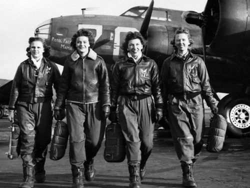 Women Airforce Service Pilots, left to right, Frances Green, Margaret Kirchner, Ann Waldner and Blanche Osborn at Lockbourne Army Air Field, Ohio, 1944. These women pilots were some of the first to ferry B-17