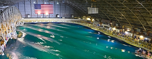 The wave pool at Carderock in Bethesda, Maryland. (Navy Photo)