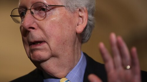Sen. Mitch McConnell, R-Ky., speaks during a news briefing after a Senate Republican policy luncheon on June 11, 2019, at the U.S. Capitol. (Alex Wong/Getty Images)