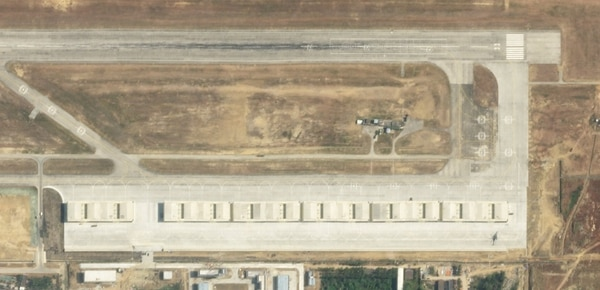 Aircraft shelters are seen at an unnamed base in Lingshui on Hainan Island. (Planet Labs)