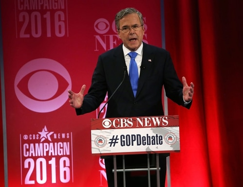 GREENVILLE, SC - FEBRUARY 13: Republican presidential candidate Jeb Bush participates in a CBS News GOP Debate February 13, 2016 at the Peace Center in Greenville, South Carolina. Residents of South Carolina will vote for the Republican candidate at the primary on February 20. (Photo by Spencer Platt/Getty Images)