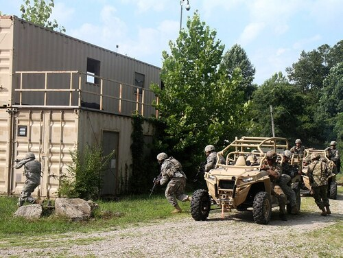 Soldiers conduct urban training at Camp Atterbury, Ind. (Cpl. John Wolfe/Army)