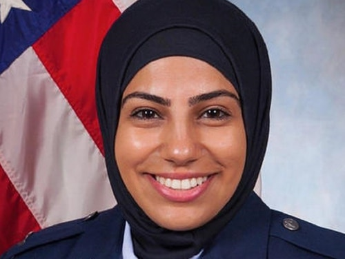 Capt. Ouza Maysaa, chief of legal assistance at Scott Air Force Base, Ill., and the first JAG Corps officer to wear hijab, is featured in a new NBC documentary. (Courtesy ACLU)