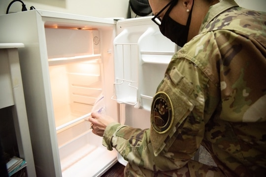 A nursing mother assigned to U.S. Space Command uses resources located in a private nursing mother's room at Peterson Air Force Base, Colorado. A new Air Force guidance memorandum details responsibilities and procedural steps for commanders to provide nursing mothers a private, secure and clean area within unit facilities to express their milk. (2nd Lt. Idalí Beltré Acevedo/Space Force)