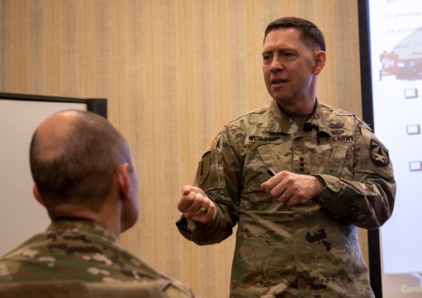 Lt. Gen. Eric Wesley, director of the Army Futures Command's Futures and Concepts Center, discusses the importance of preparing the force for future combat Feb. 7, 2019, at Fort Riley, Kansas. (Army)
