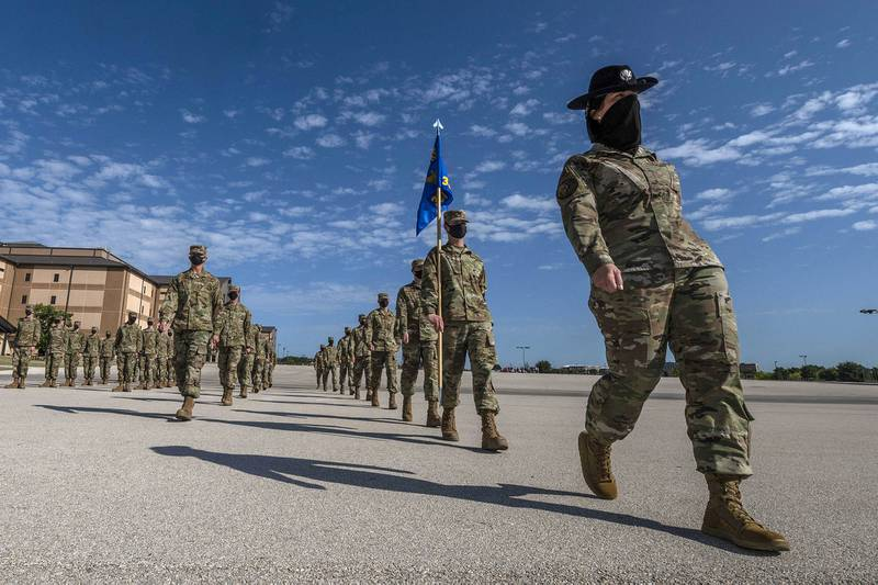 Air Force basic military graduation and coining ceremony is held Aug. 27, 2020, for the 331st Training Squadron at the Pfingston Reception Center on Joint Base San Antonio-Lackland, Texas.